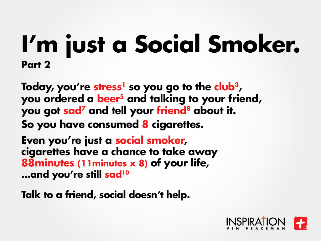 social smoking Social smokers usually don't light up alone, and they often limit cigarettes to  weekends or after-hours(corbis)theres a species of smoker.