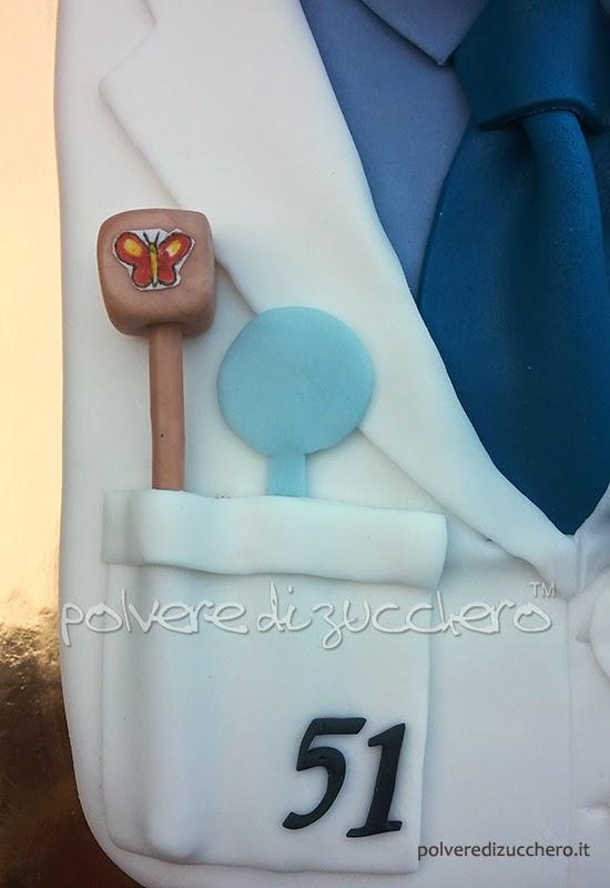 torta decorata camice dottore oculista pasta di zucchero cake art
