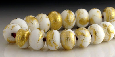 Anice white and gold leaf etched glass beads