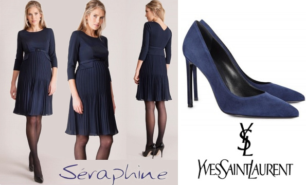 Princess Victoria's SERAPHINE Sophia Dress and SAINT LAURENT Suede Pumps