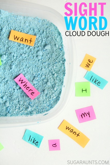 Sight word sensory bin with cloud dough made with baby oil and baby powder