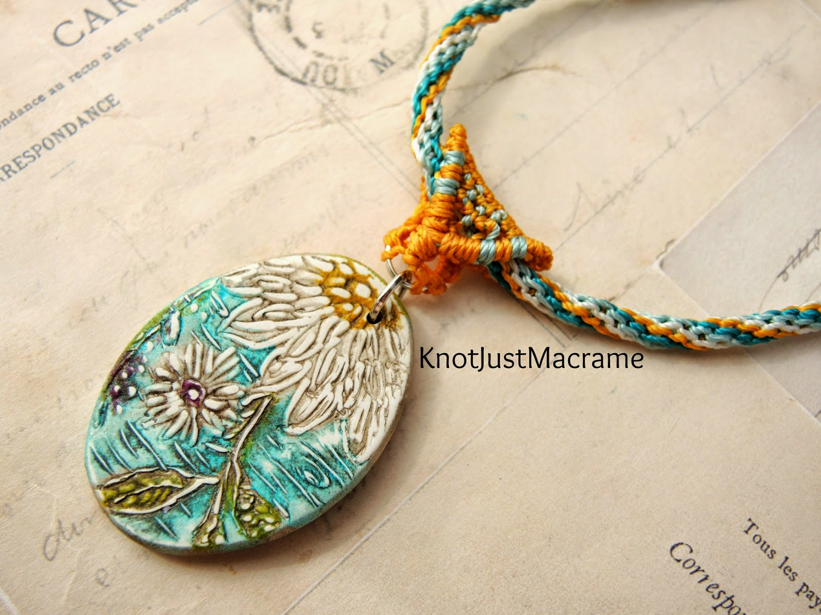 Micro Macrame cord and bail by Sherri Stokey with Humblebeads pendant.