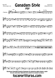 Partitura de Gangndam Style para Clarinete por PSY Sheets Music Clarinet Music Scores Gangndam