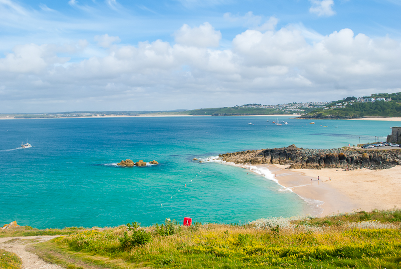 Image of the summer ocean and beaches in st ives west cornwall, england, UK