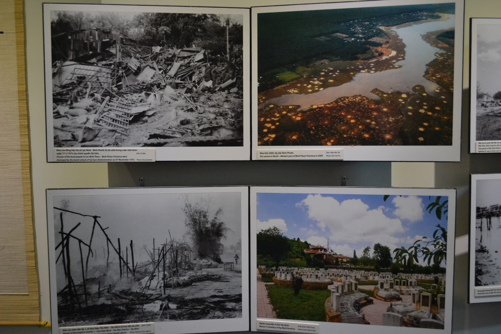 ection displaying picture of war ravaged cities and contemporary pictures side by side