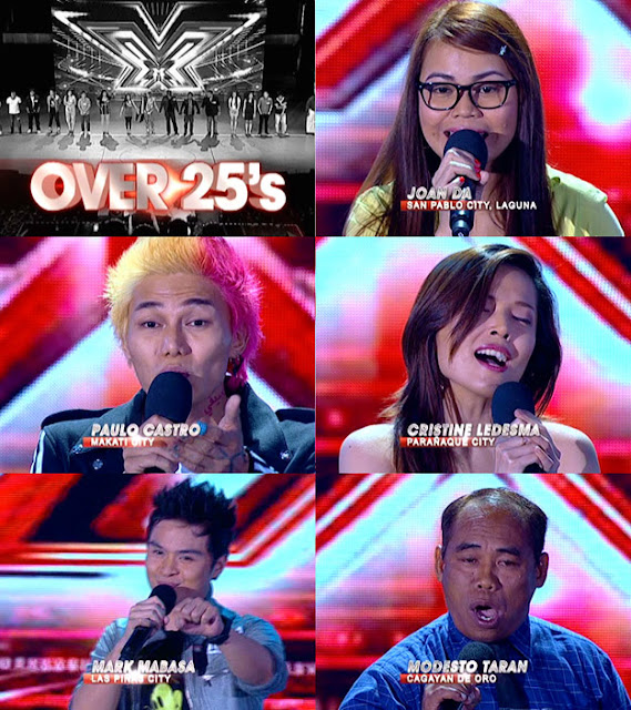 The X Factor Philippines Top 20 Over 25's - Joan Da, Paulo Castro, Cristine Ledesma, Mark Mabasa, and Modesto Taran