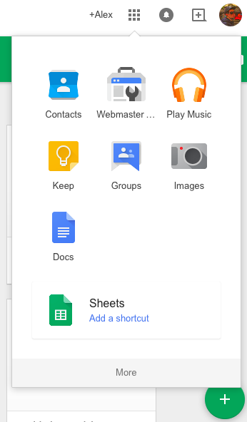 add google docs sheets and slides to app launcher