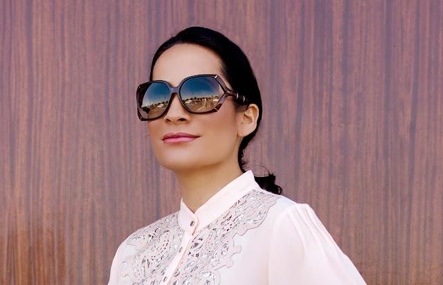 Alberto Makali Pink laser cut lace tunic Gucci Sunglasses