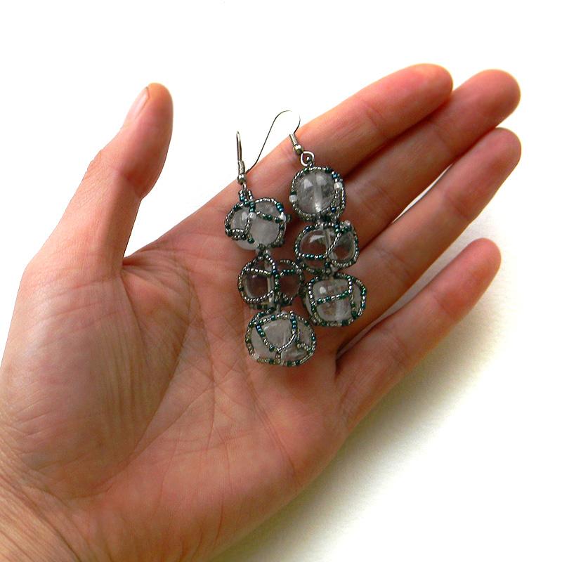 Rock crystal earrings - beaded earrings - quartz earrings - OOAK earrings