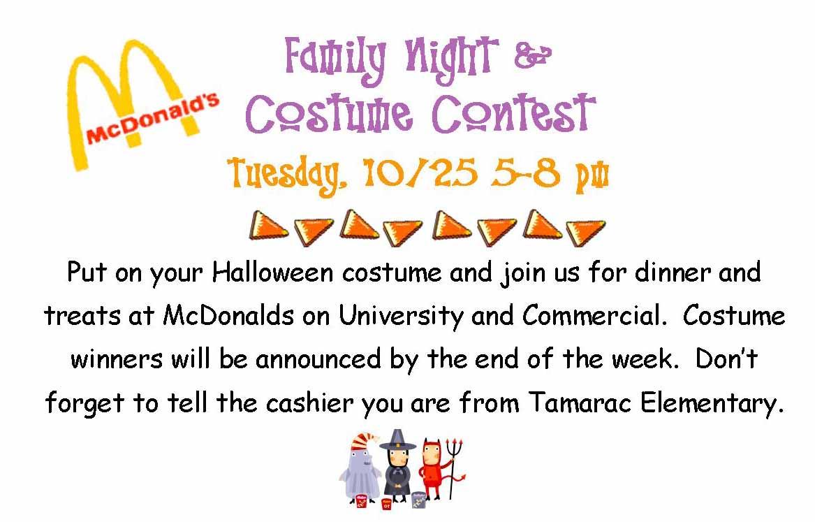 tiger news: mcdonald's family night & costume contest 10/25