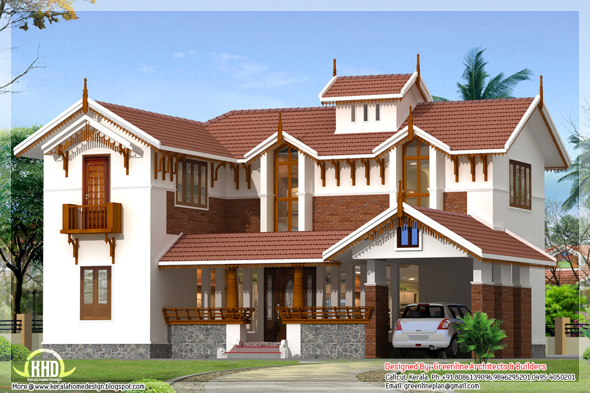 2248 kerala villa elevation house design plans for Kerala style villa plans