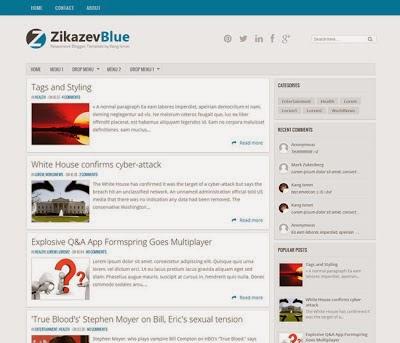 FREE Blue Blogger Template Responsive Zikazev