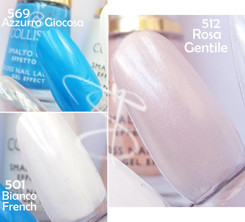 Collistar Smalto Gloss Effetto Gel azzurra giocosa bianco french rosa gentile