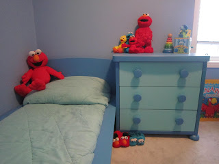 kid's bedroom, big boy bed, Elmo, blue bedroom