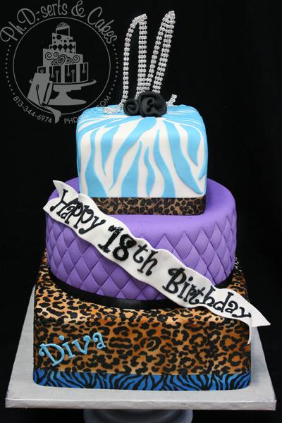 Leopard Print Zebra Cake Tiffany Blue Birthday 18 Fondant Quilted