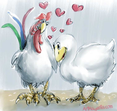 The goose and the rooster who fell in love. Cartoon by ArtMagenta.