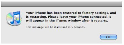 iphone is restored to factory setting