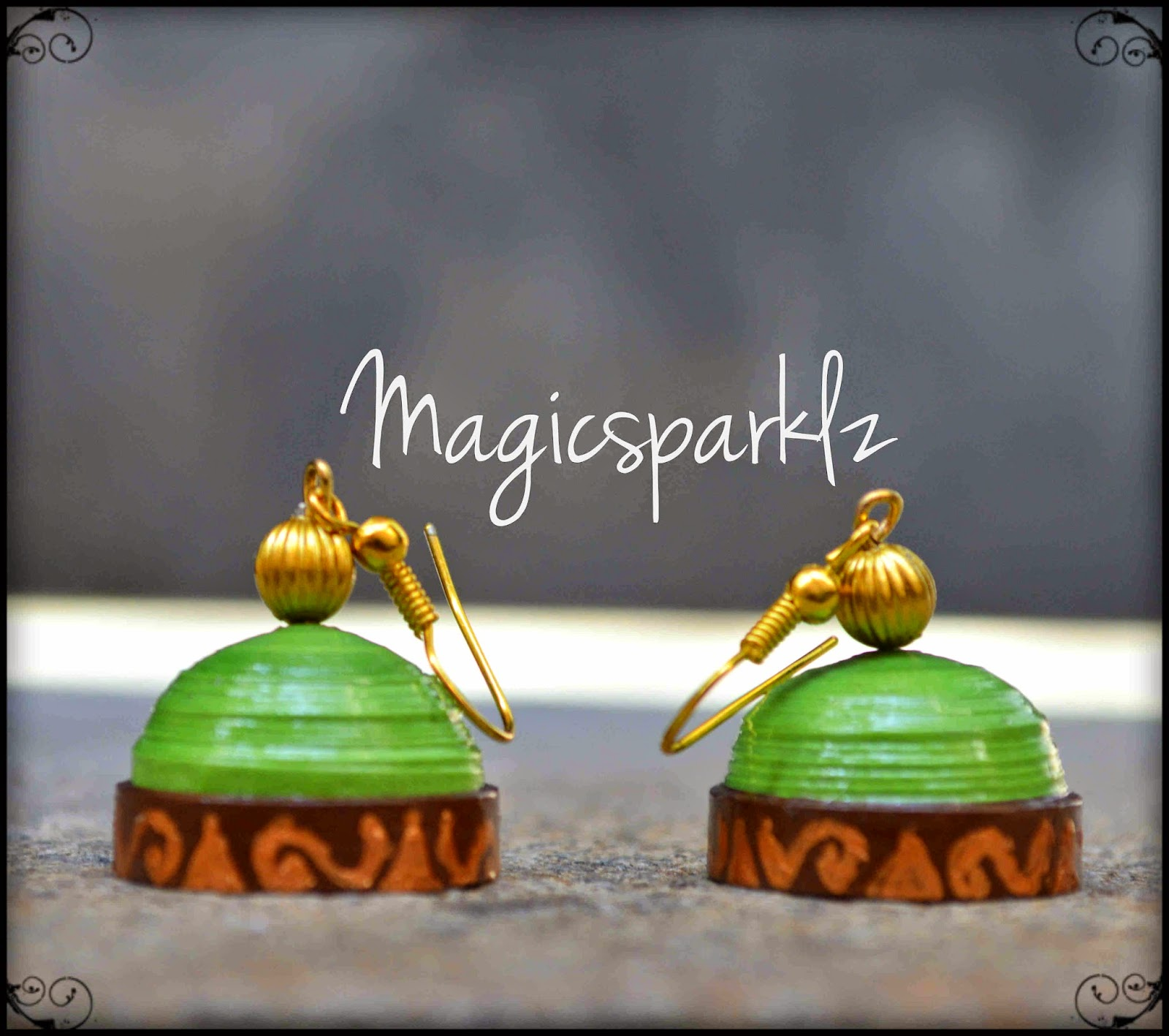 Handpainted green jhumka