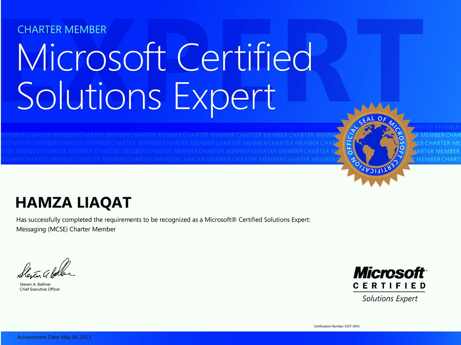 Hamza Liaqat Profile Microsoft Certified Solution Expert Mcse