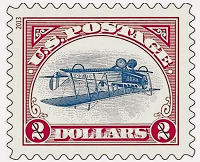 GAMBAR menunjukkan setem kapal terbang terbalik keluaran 1918 yang dicetak semula oleh Perkhidmatan Pos Amerika Syarikat.