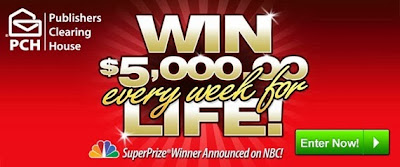 Enter to win $5,000 every week for life with a minimum payout of $1,000,000.00!