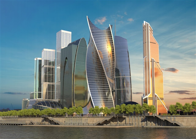 Rendering of new Moscow's skyline