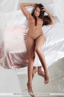 "Benita - ""Thinking of You"" by Femjoy (AKA Chantelle A, Anastasia Petrova) nude brunette lying on bed playing with hair"