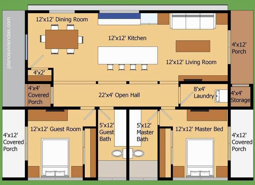 Plano de planta de una casa residencial