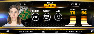 NBA 2K13 Celtics Kelly Olynyk - Round 1 13th Overall