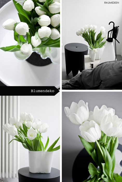 raumideen dekoidee deko mit wei en tulpen. Black Bedroom Furniture Sets. Home Design Ideas