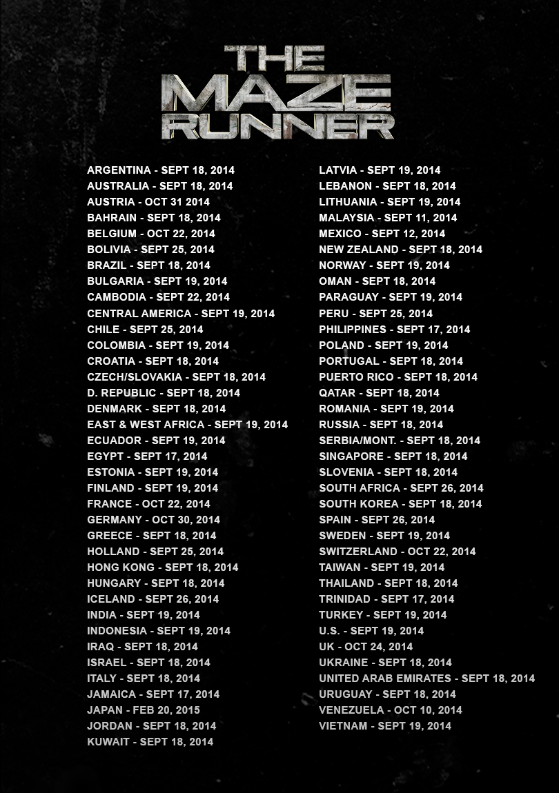 The Maze Runner Movie International release dates