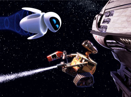 Wall-E romancing Eve by using a fire extinguisher to fly with her