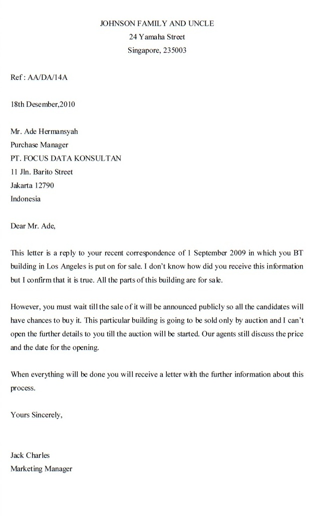 Reply To Inquiry Letter Format Letter Format 2017 – Format of Letter of Inquiry