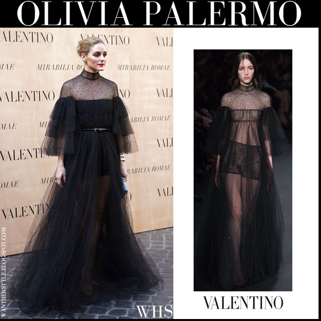 Olivia Palermo in black sheer chiffon Valentino gown haute couture july 9 what she wore