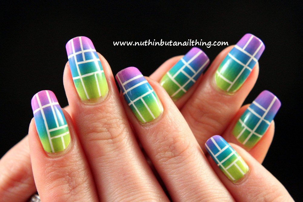 nuthin' but a nail thing — Neon, gradient and some stripes...