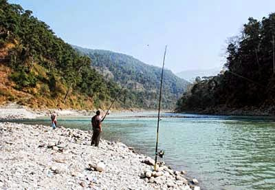 Anglers at Tribeni, the confluence of the Teesta and Rangit rivers