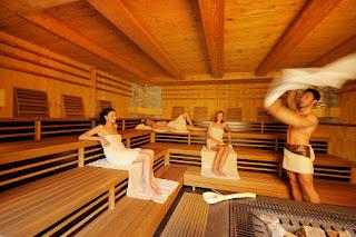 Sauna im Wellnessbereich des Spa Resorts Andreus in Südtirol