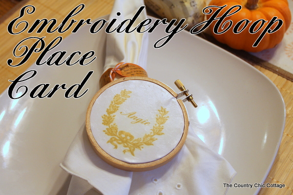 embroidery hoop place card