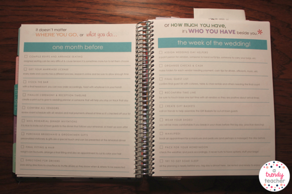 Next Is One Of The Best Parts Entire Planner These Pages Show You What Should Be Doing At Each Point Up Until Wedding