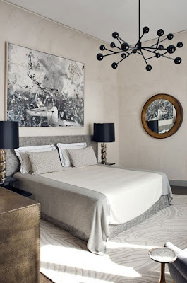 neutral manly space, masculine bedroom, tailored bedding, warm interiors, art in the bedroom