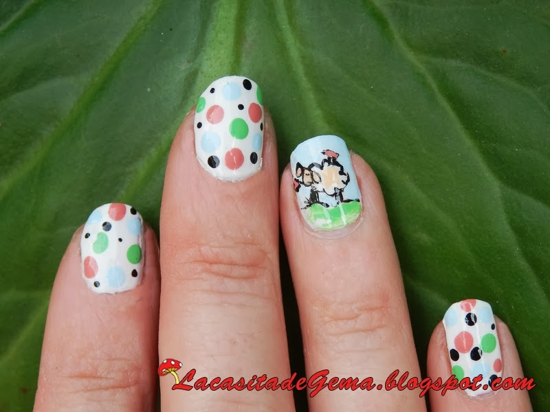 La casita de Gema: Tutorial uñas (Nail art) Nº 68 Ovejita - Little sheep