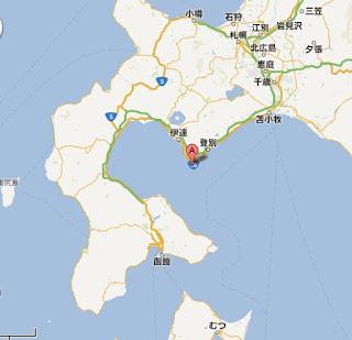 北海道室蘭市追直漁港の位置
