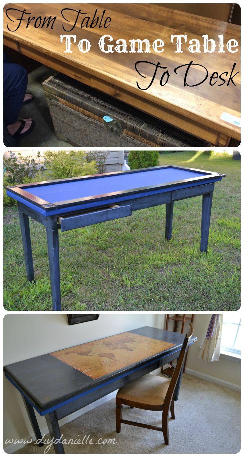 How To Repurpose A Table Into A Gaming Table And Desk. This Upcycle  Involves Distressing