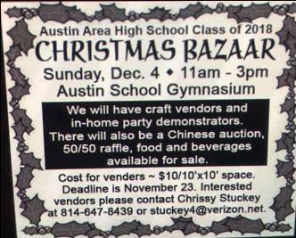 12-4 Christmas Bazaar Austin Class Of 2018