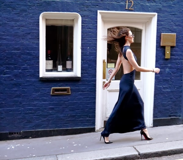 Backless navy blue maxi dress with Christian Louboutin Pigalle stilettos and Rayban aviators
