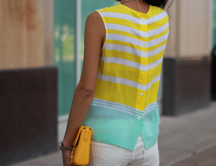 equipment stripe silk blouse button back