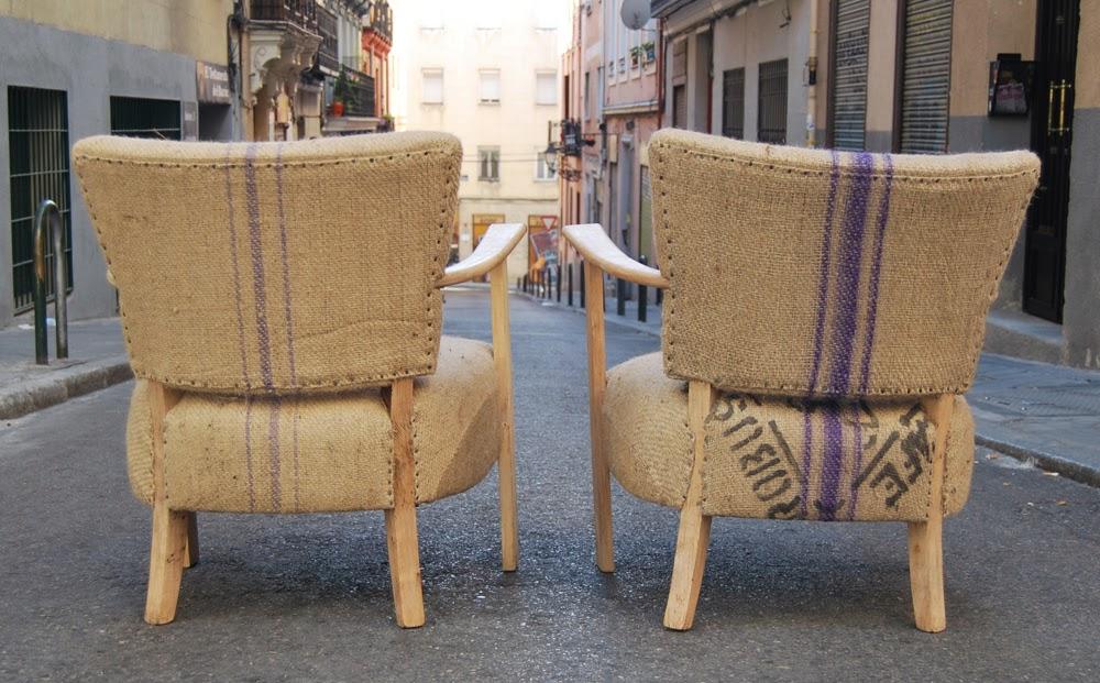 Butacas tapizadas con sacos de caf la tapicera - Butacas originales ...