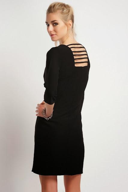 sırt dekolteli siyah kısa elbise koton 2014 elbise modelleri