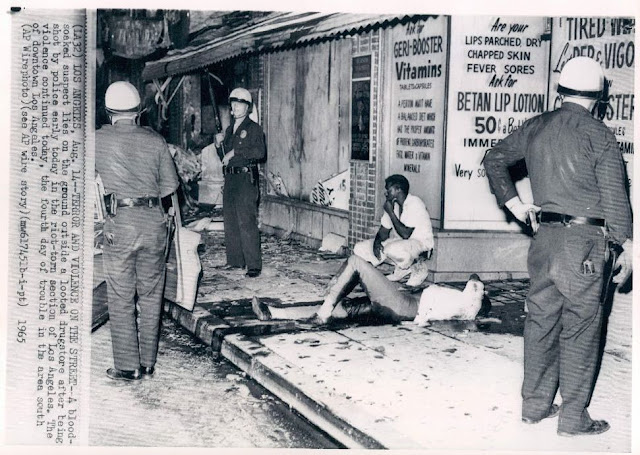 watts riots The case for civil unrest: the watts riots and institutional racism on august 11, 1965, a police patrol in the watts district of los angeles, california pulled over marquette frye, an african american man, under the suspicion that he was driving while intoxicated arresting officer lee marquette frye's scuffle with police during his arrest (getty.