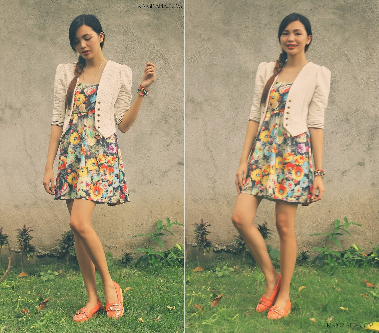 peach shoes and floral dress
